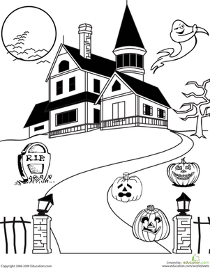 Haunted House Coloring  Coloring Haunted houses and Colors