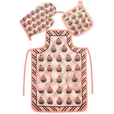 Crover Chef's 3 Piece Cotton Pink Cupcakes Kitchen Set