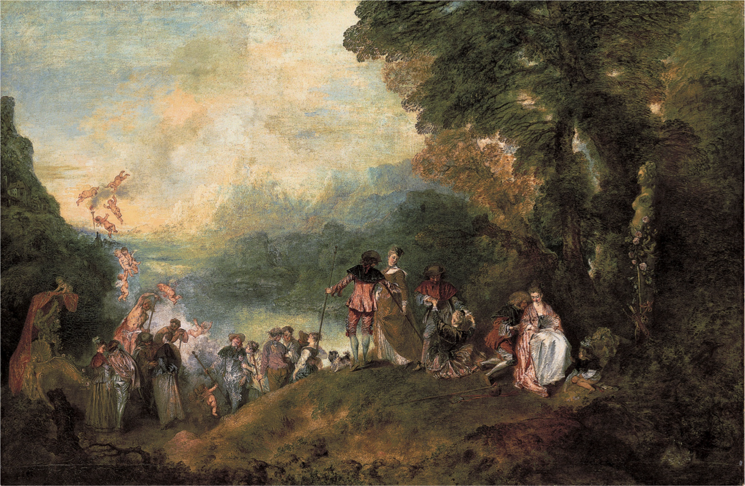 Pilgrimage to the Island of Cythera by Jean-Antoine Watteau. circa 1718-1721. Rococo.