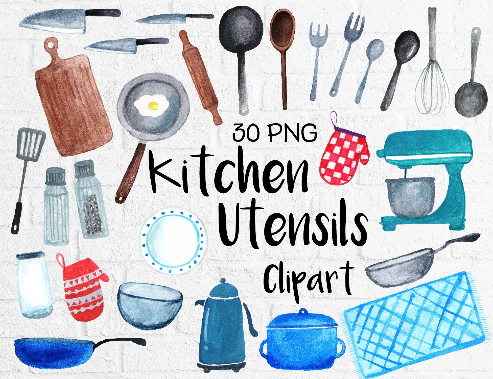 Watercolor Kitchen Utensils Clipart, Baking Kitchen Tool Clipart ...
