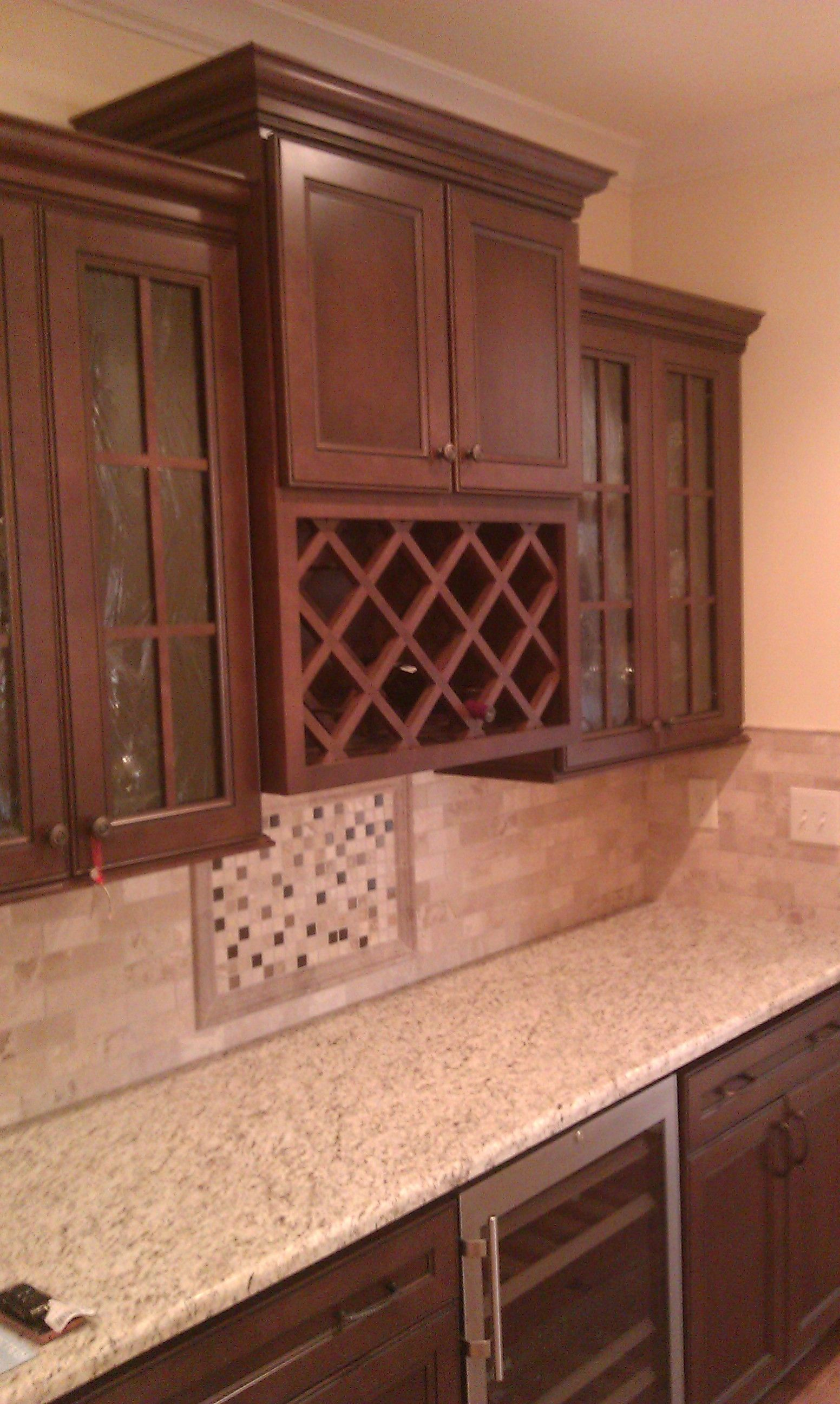 Kitchen cabinet doors tulsa ok - Bar Cabinet Winerack Homecrest Cabinetry Eastport Maple Bison With Ebony Glaze