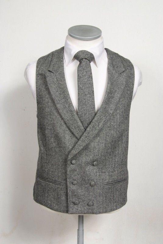 Black tweed wedding suit