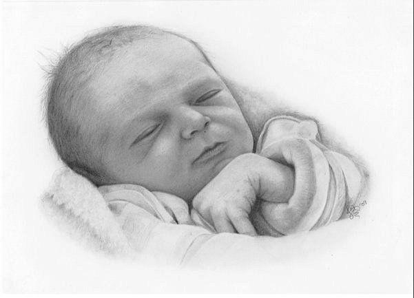 Newborn Joshua, my daughter's friend's son. Drawn using ...
