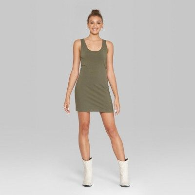 957aee92 Women's Sleeveless Knit Tank Dress - Wild Fable Olive (Green) Xxl ...