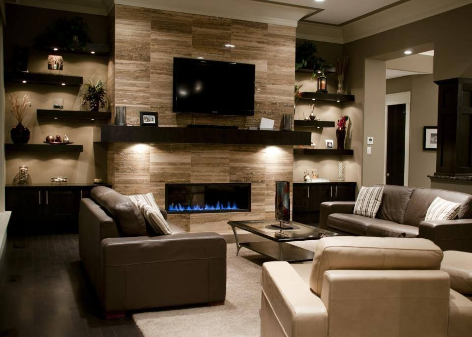 Shelving Units For Living Room On Sides Of Fire Places And Placement Of Gas  Fireplace, Tv With Mantle Only In Gray Stacked Rock!