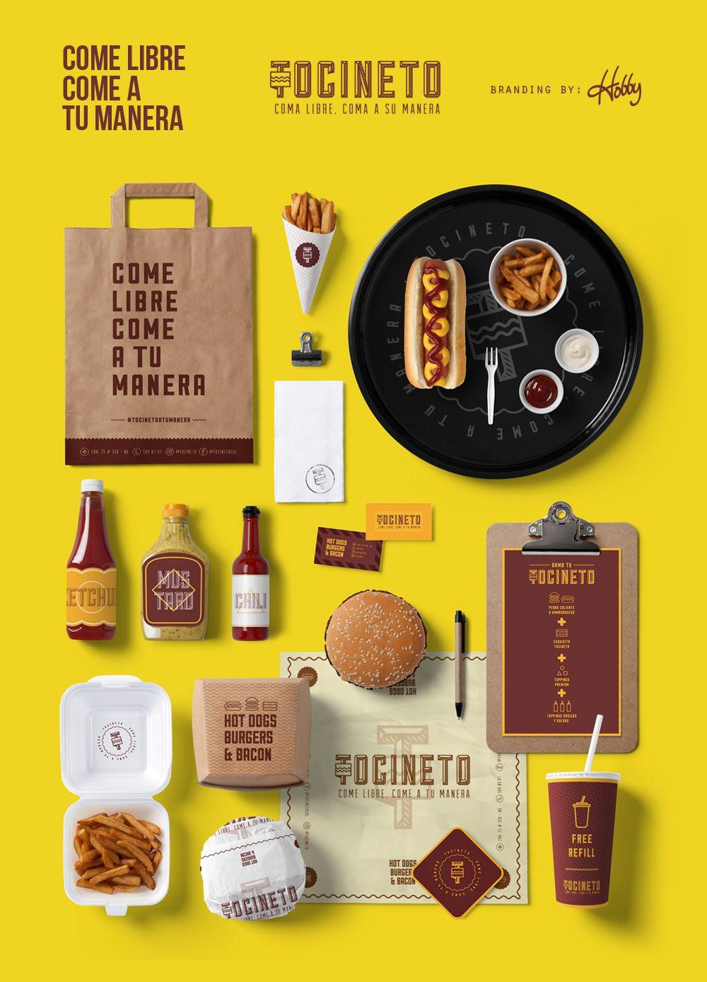 114cbb25e Tocineto • Comida Rápida (Fast food restaurant) / Desarrollo: #nombre  #eslogan #logo #papeleria #bolsa #menu #papeldeenvoltura