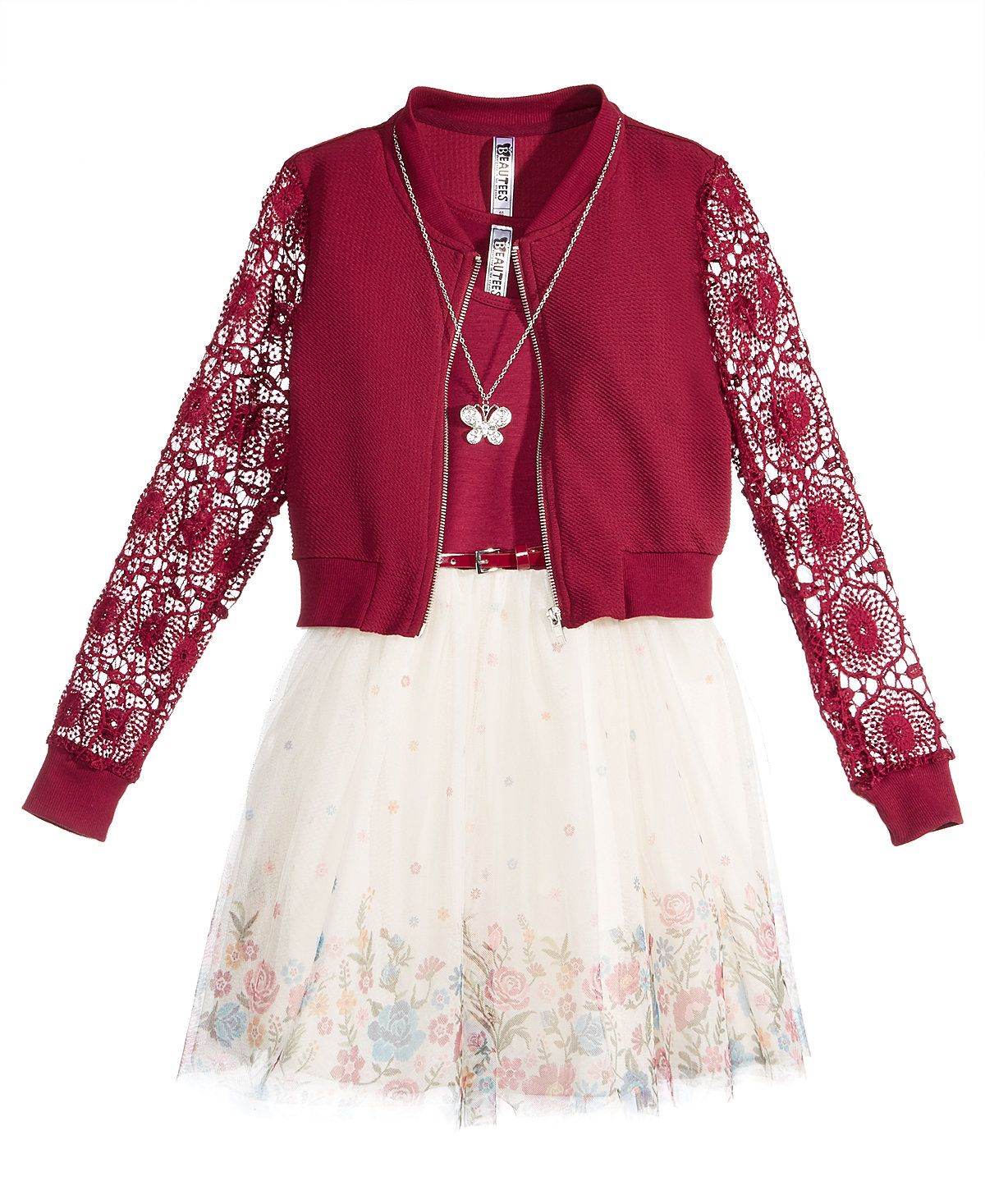 81e8e4f3a Beautees 2-Pc. Lace Bomber Jacket & Dress Set With Coordinating Necklace,  Big Girls (7-16) - Big Girls (7-16) - Kids & Baby - Macy's