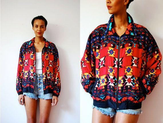 Vtg Colorful Silk Tribal Print Zip Up Bomber Jacket by LuluTresors, $39.99