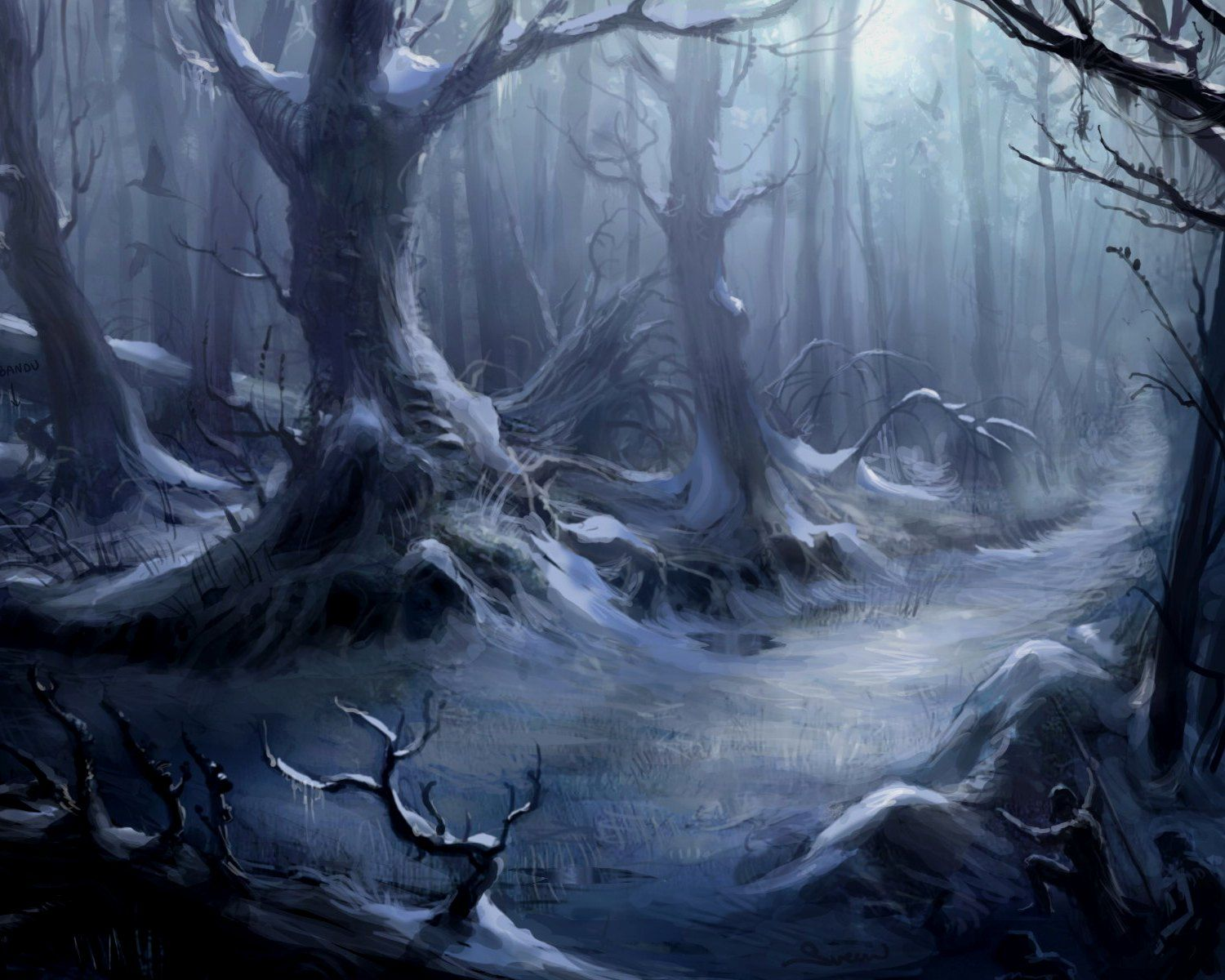 dark creepy horror spooky scary halloween forest wallpaper
