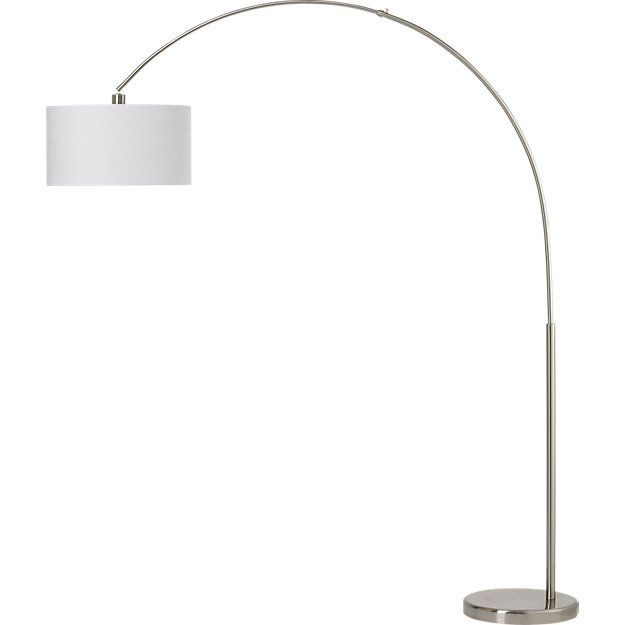 Cb2 big dipper arc brushed nickel floor lamp big dipper floor shop big dipper silver arc floor lamp a simple brushed round nickel base grounds a wide sweeping arc over six feet high culminating in a slim ring of aloadofball Gallery