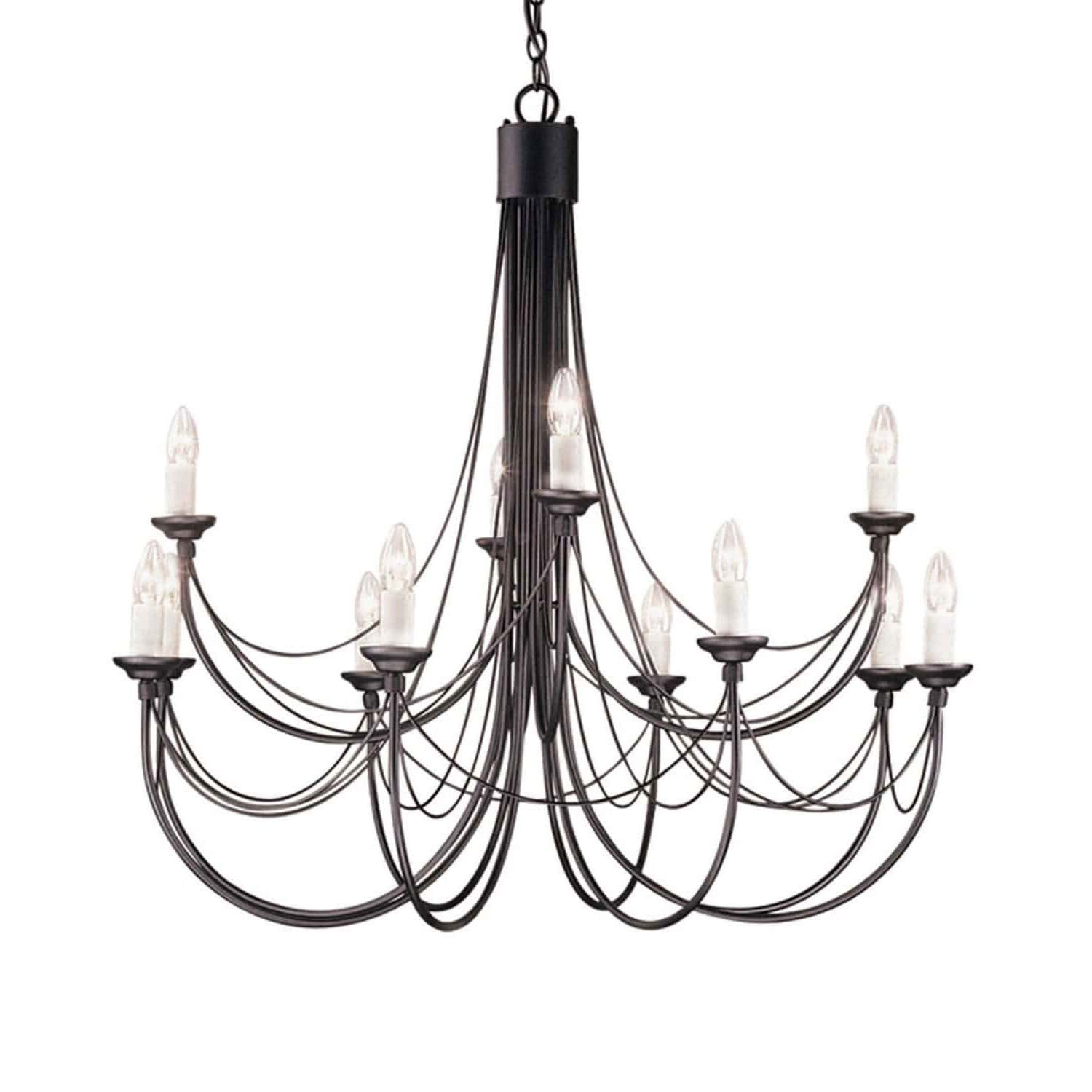Elstead Carisbrooke 12 Light Black Candle Chandelier Black