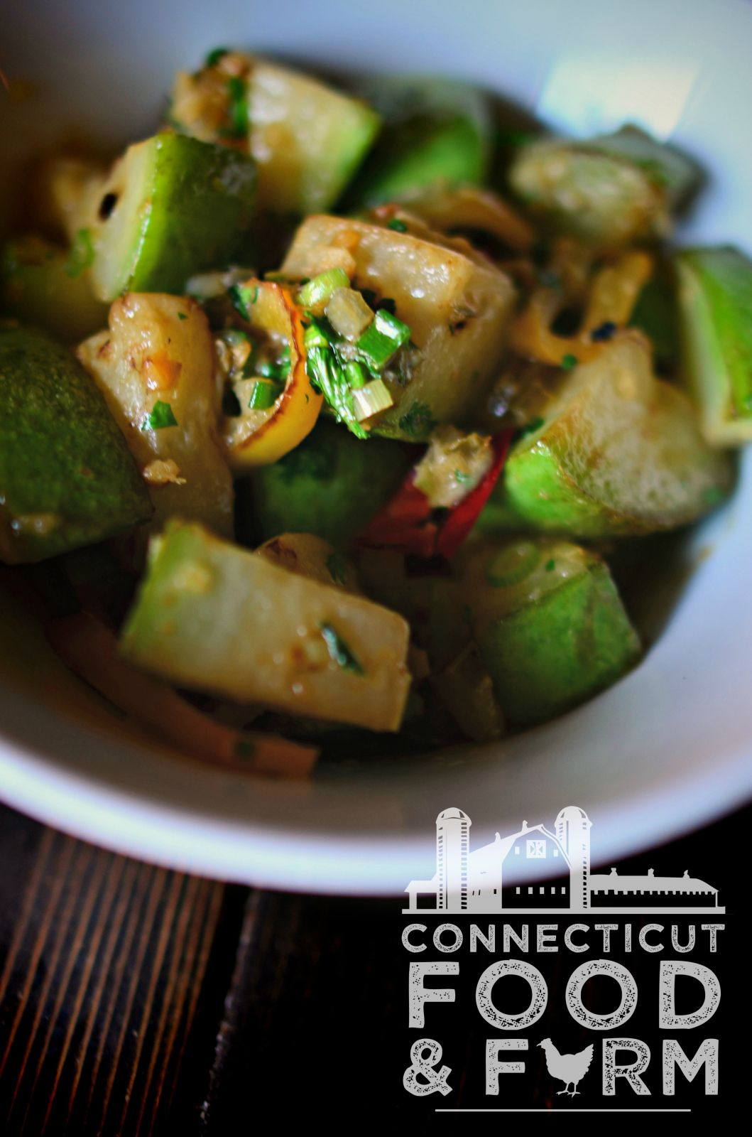 Roasted Opo Squash with Ginger, Coconut & Green Curry
