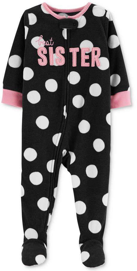 022adfc8f Carter s Baby Girls Dot-Print Sister Footed Pajamas