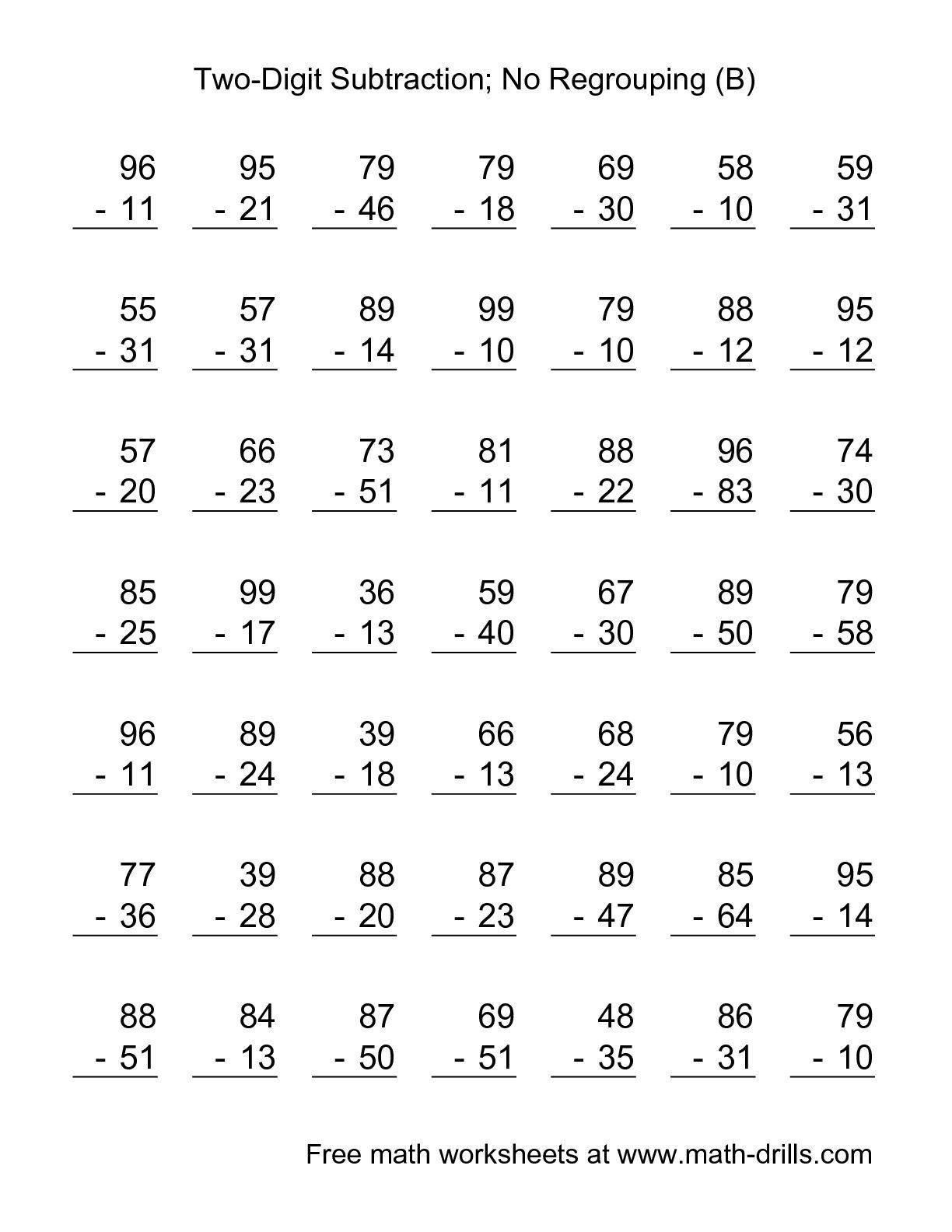 The Two Digit Subtraction With No Regrouping 49 Questions B Math Worksheet From The