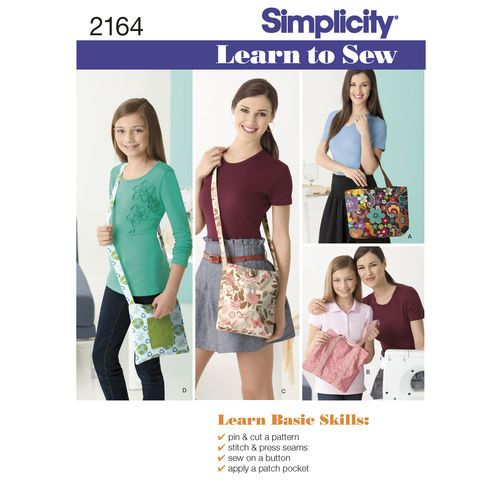 Simplicity Pattern 2164 Learn-to-Sew Bags | Patterns to Buy ...