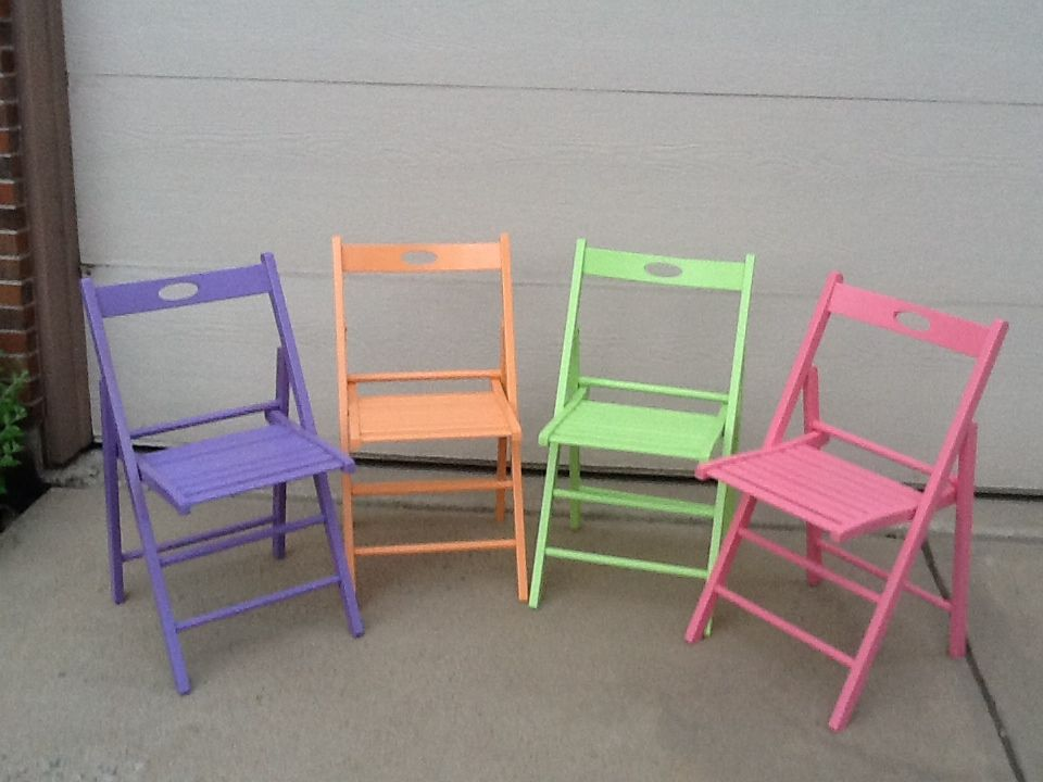 Excellent Before Blond Wooden Folding Chairs After Sherbet Colored Customarchery Wood Chair Design Ideas Customarcherynet