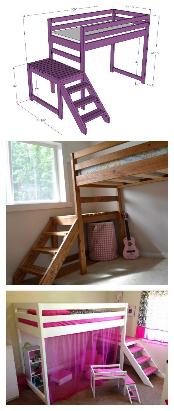 Girls loft bed with stairs  DIY Camp Loft Bed with Stair  Big Girl Room  Pinterest  Lofts