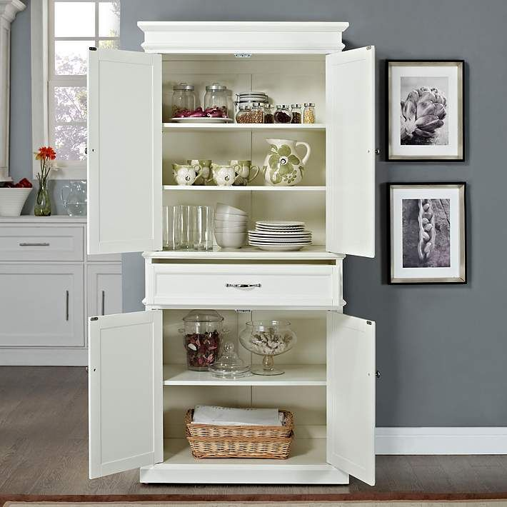 Parsons 33 Wide White 4 Door Kitchen Pantry Cabinet 7g903 Lamps Plus White Storage Cabinets Pantry Storage Kitchen Pantry Cabinets
