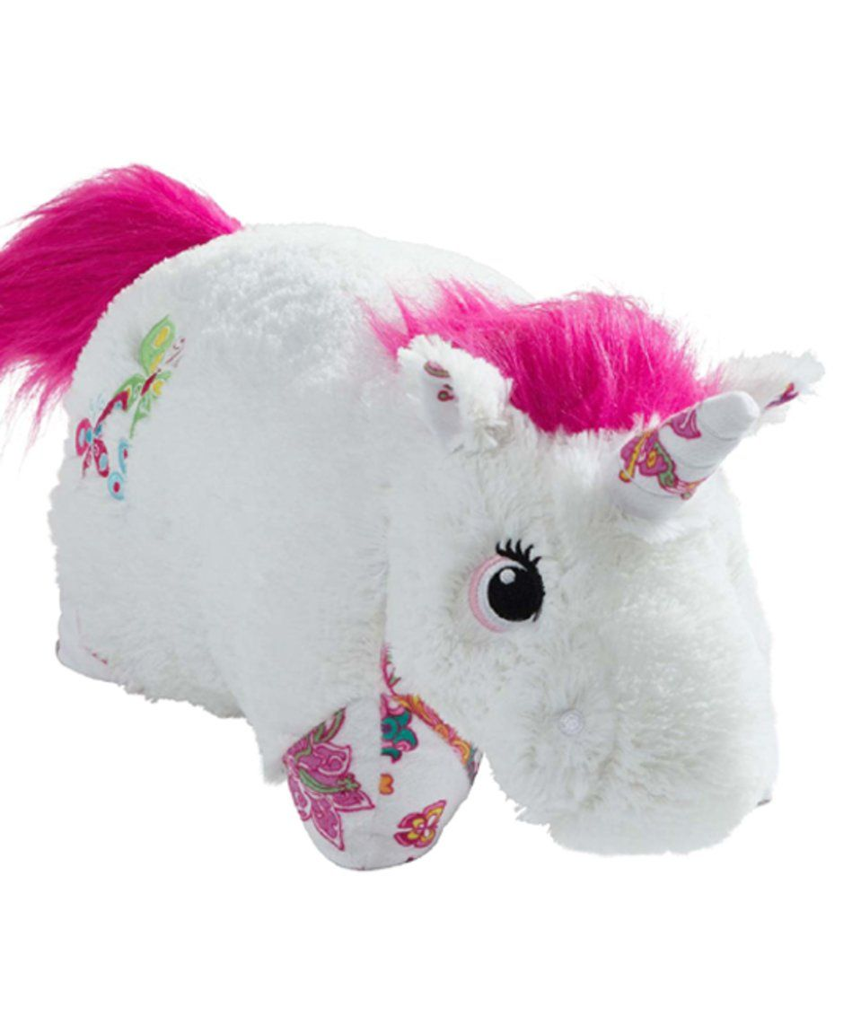 Take a look at this Colorful White Unicorn Large Pillow