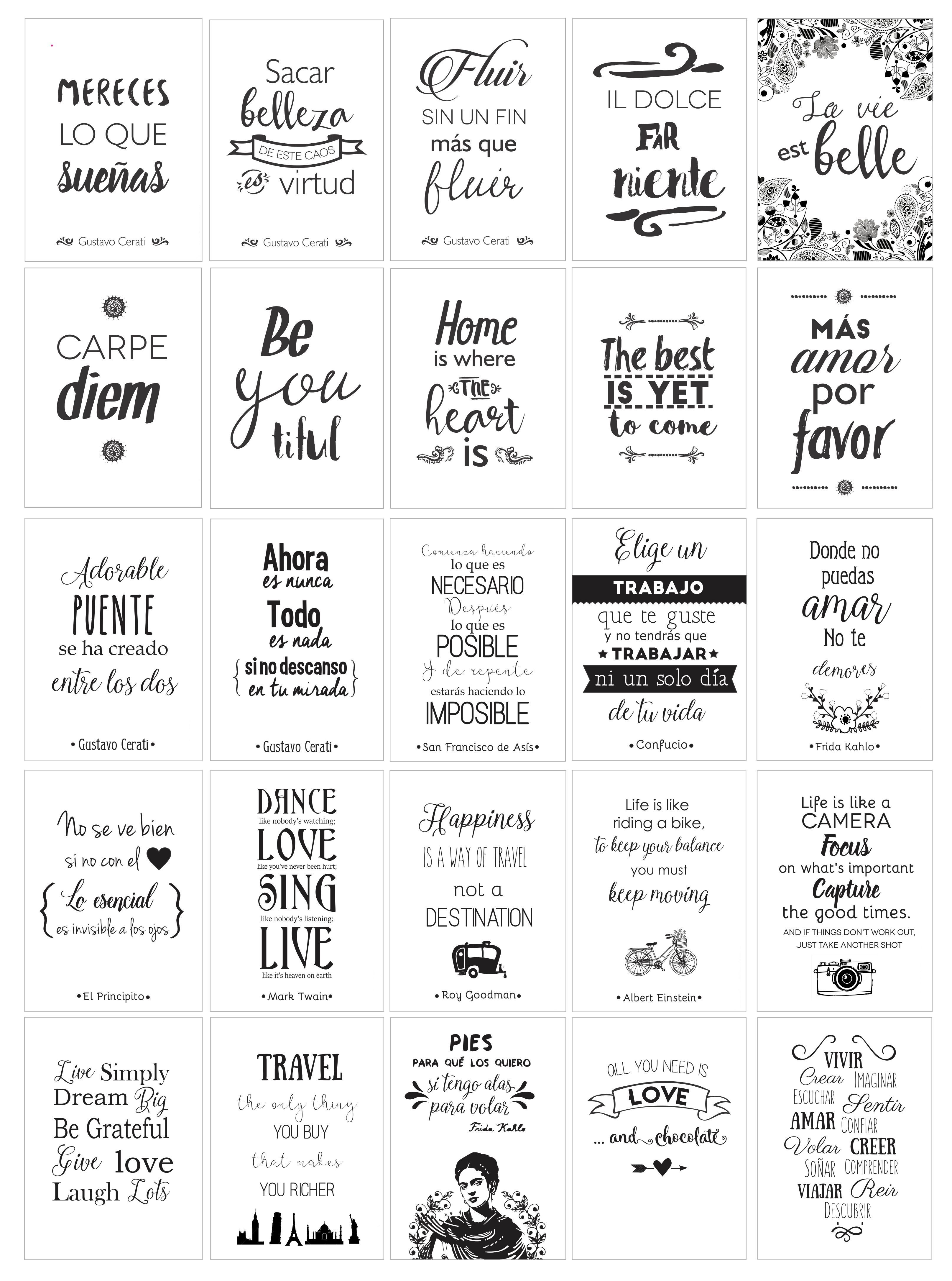2x1 Láminas De Diseño Con Frases Que Inspiran! Para Imprimir - $ 30 ...