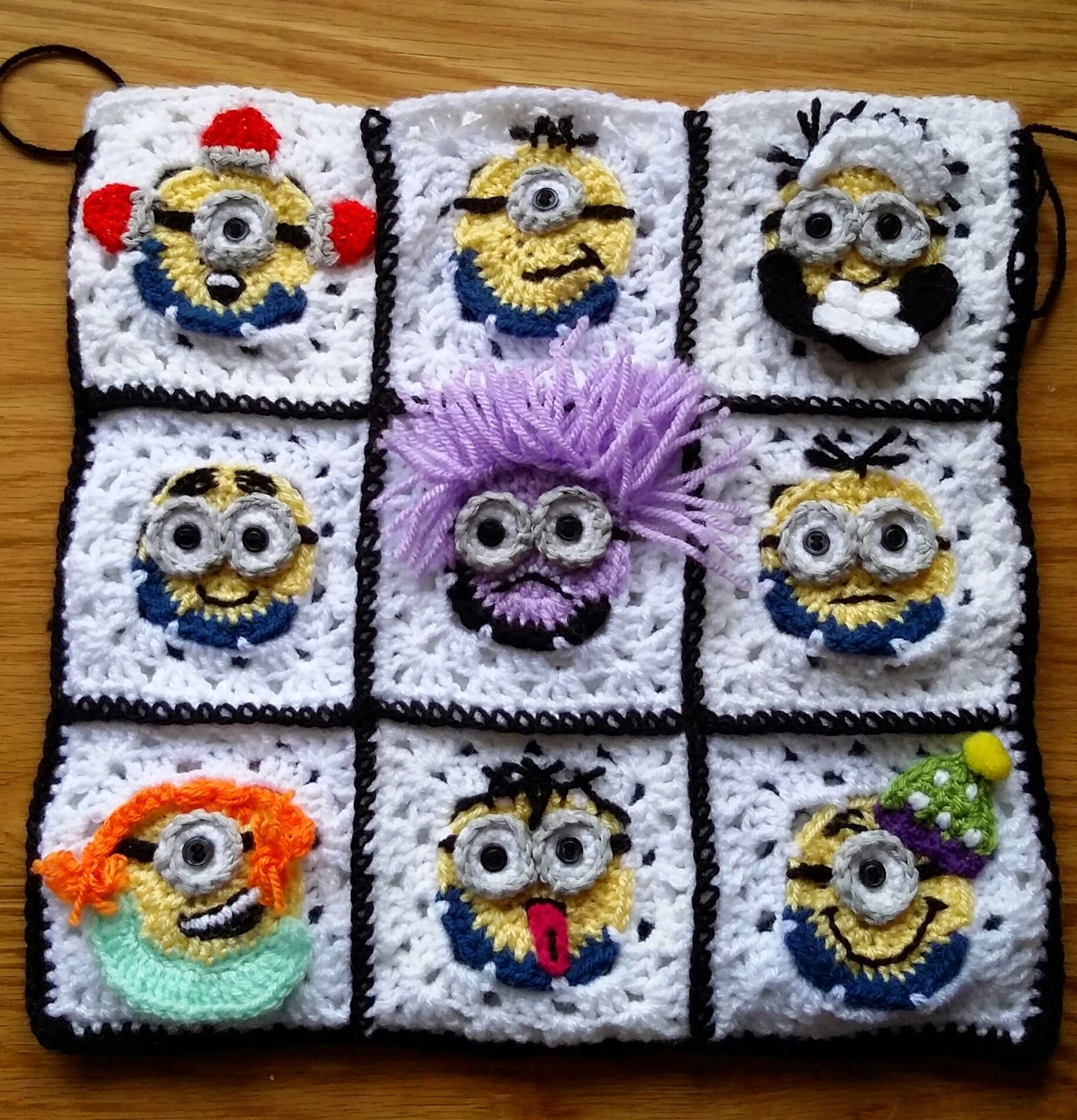 crochet minion pattern squares were made using a simple crochet minion square - embellishments and colors chosen by designer. see her site no pattern