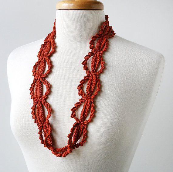 c2016be18bc75 Fiber Art Jewelry - Silk Crochet Lace Necklace - Terra Cotta Burnt ...