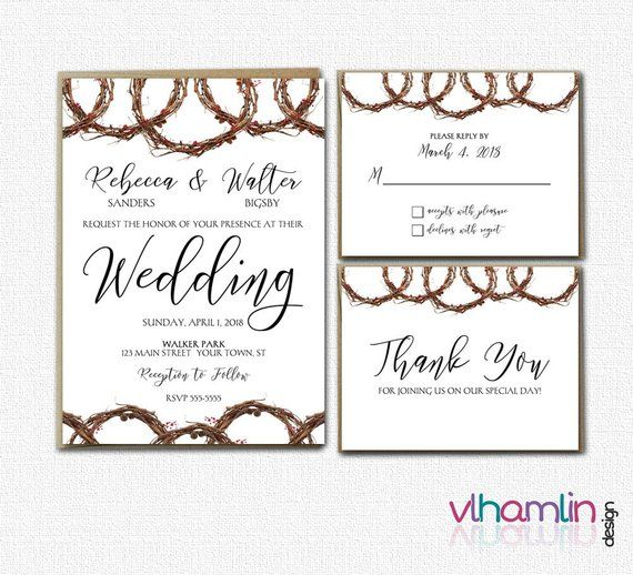 Grapevine Wedding Invitation Suite