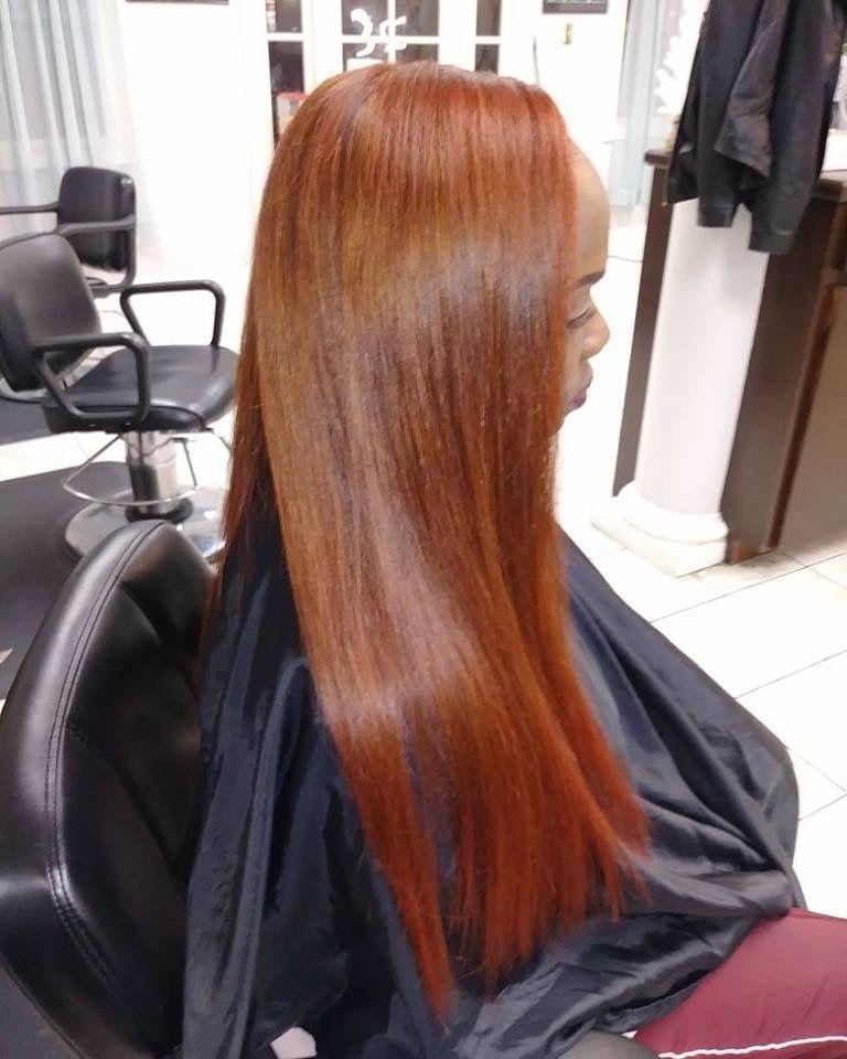 Salon Exhibit Red Hair Lafayette La Stylist Lucy Lu Blackgirlhair Custom Color Straight Hair Side Part Straight Hairstyles Long Hair Styles Hair