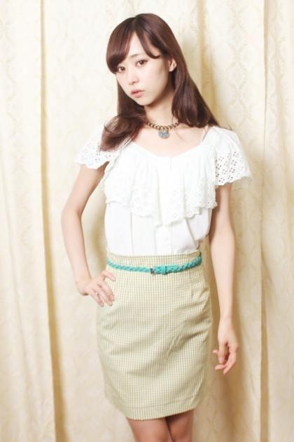 Leaf Green×Yellow ギンガムチェック柄タイトスカート