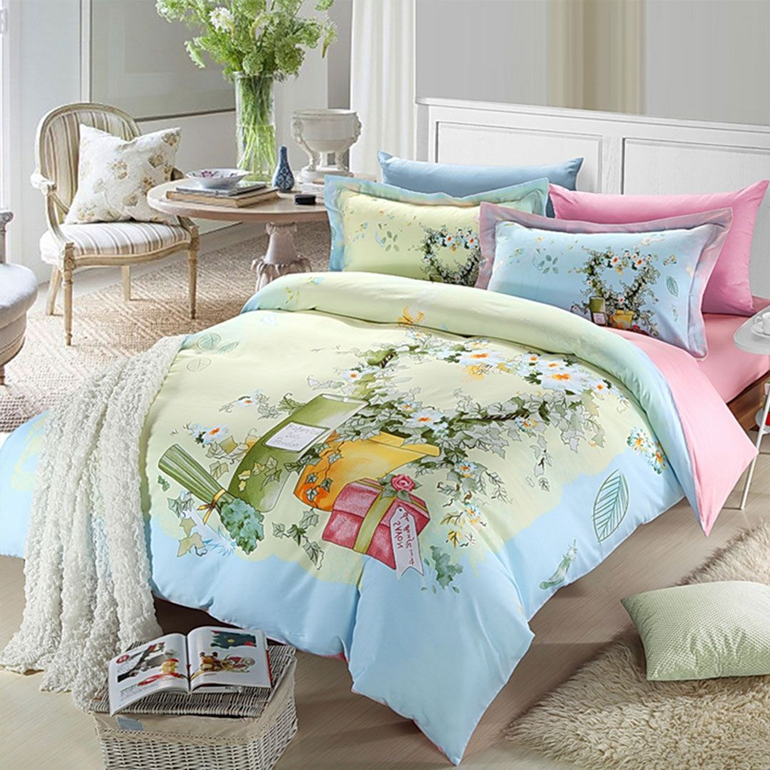 Elegant style pink and light blue flowers print bedding set queen & King size. 100% cotton fabric high density super soft material. Worldwide Free shipping