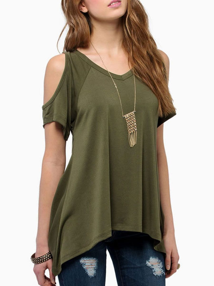 2b2634a69dd60 Summer Polyester Women Open Shoulder Asymmetric Hem Plain Short Sleeve T- Shirts  TShirts