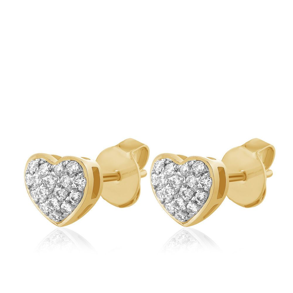 02857e2f06b91 10k Yellow Gold Micro Pave Round Natural Diamond Heart Stud Earrings ...
