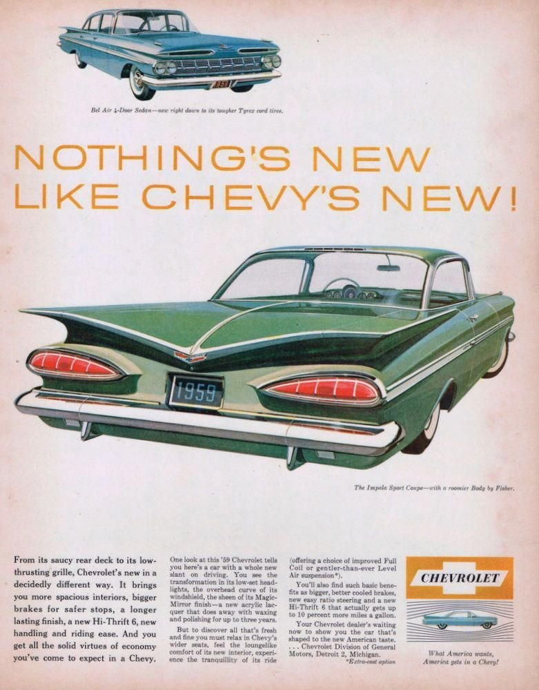 1959 Chevrolet Impala Chevroletclassiccars Car Advertising