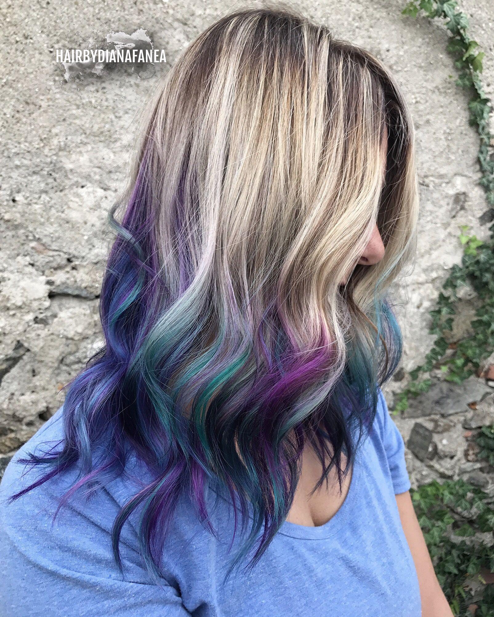 Purple Balayage Blue Balayage Oil slick hair Peacock hair Balayage Mermaid hair  Unicorn hair