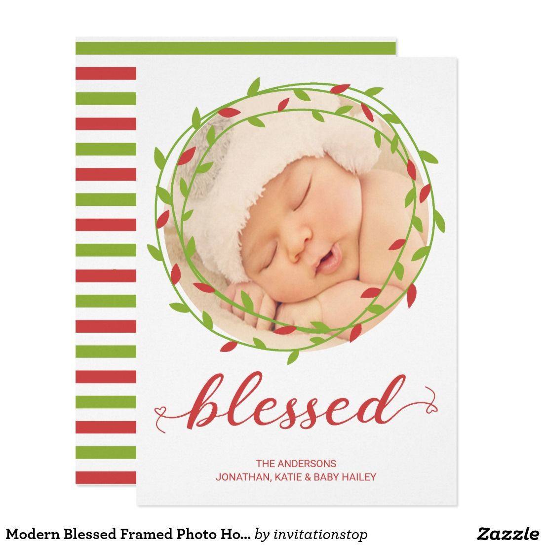 Modern Blessed Framed Photo Holiday Card Christmas Photo Cards