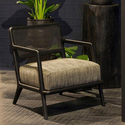 Contemporary Armchair Fabric Beech American Walnut Ashton