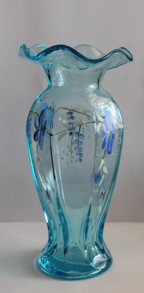 Fenton Art Glass Hand Painted Floral Light Blue Vase 775 Tall