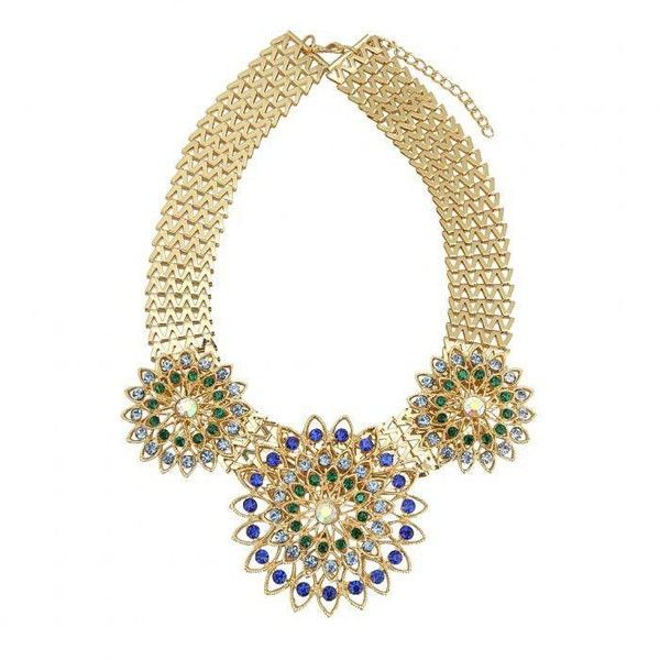 Yoins Chunky Gold Chain Flower Necklace (5.585 CRC) ❤ liked on Polyvore featuring jewelry, necklaces, blue, chain necklace, gold pendant, chunky necklaces, blue statement necklace and chunky chain necklaces