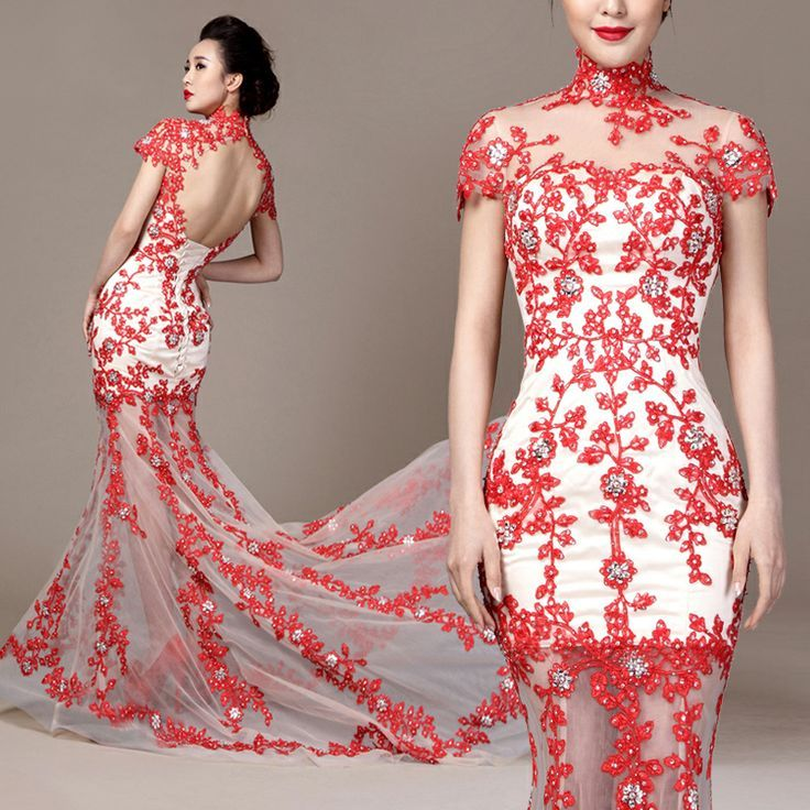 Chinese qipao inspired cherry blossom floral embroidered ruffle ...