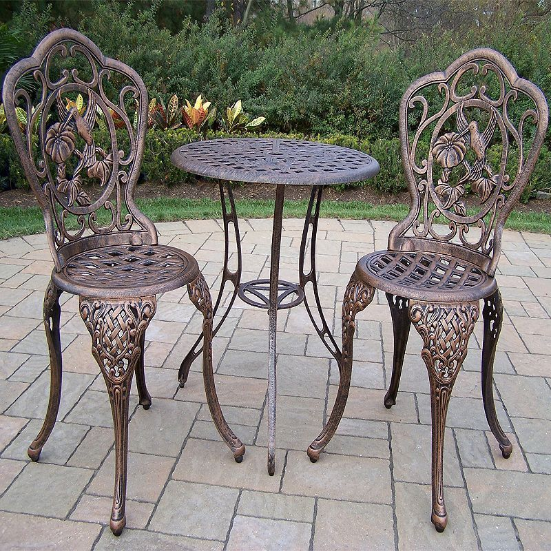Hummingbird Cast Aluminum Outdoor Bistro Table 3 Piece Set