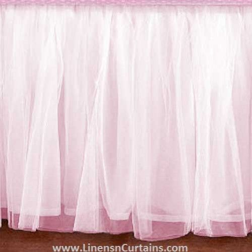 Adorable Light Pink Tulle Crib Skirt Mini Crib Skirt Dust Ruffle In Adjustable Drop Lengths Ruffle Crib Skirt White Ruffle Bedding Tulle Bedskirt