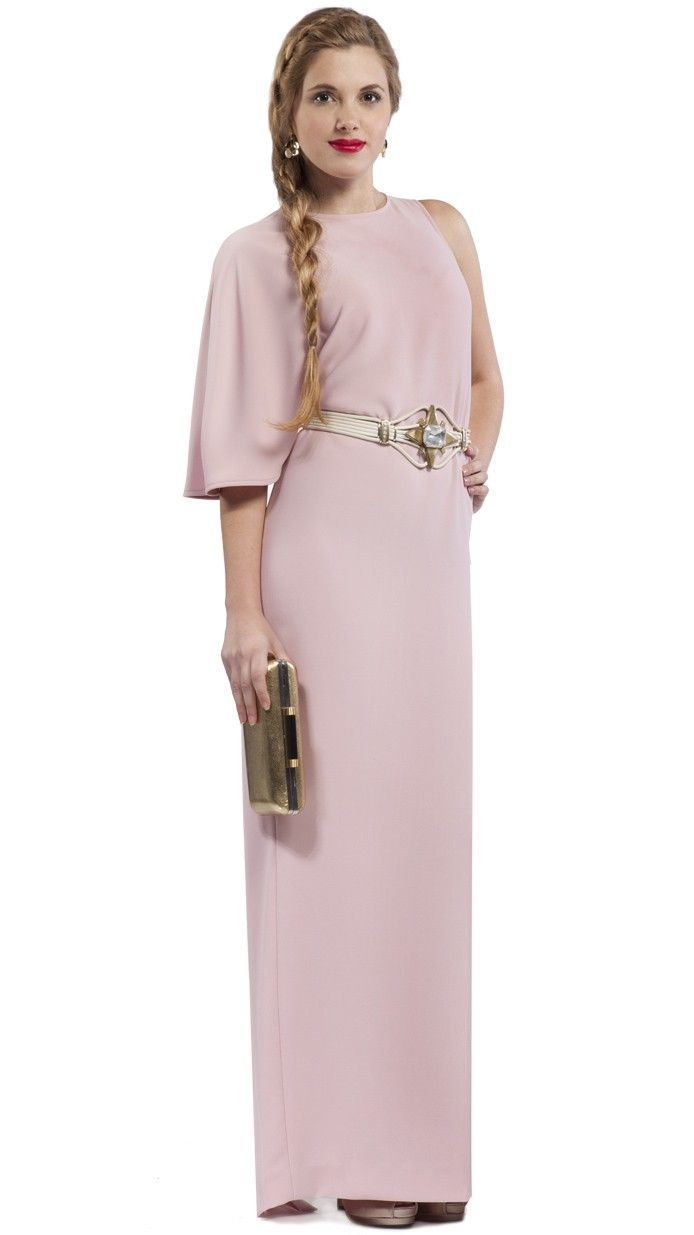 DRESSEOS - Exclusivo vestido largo asimétrico rosa palo - tiendas de  alquiler de vestidos de fiesta 29a4d4d7f923
