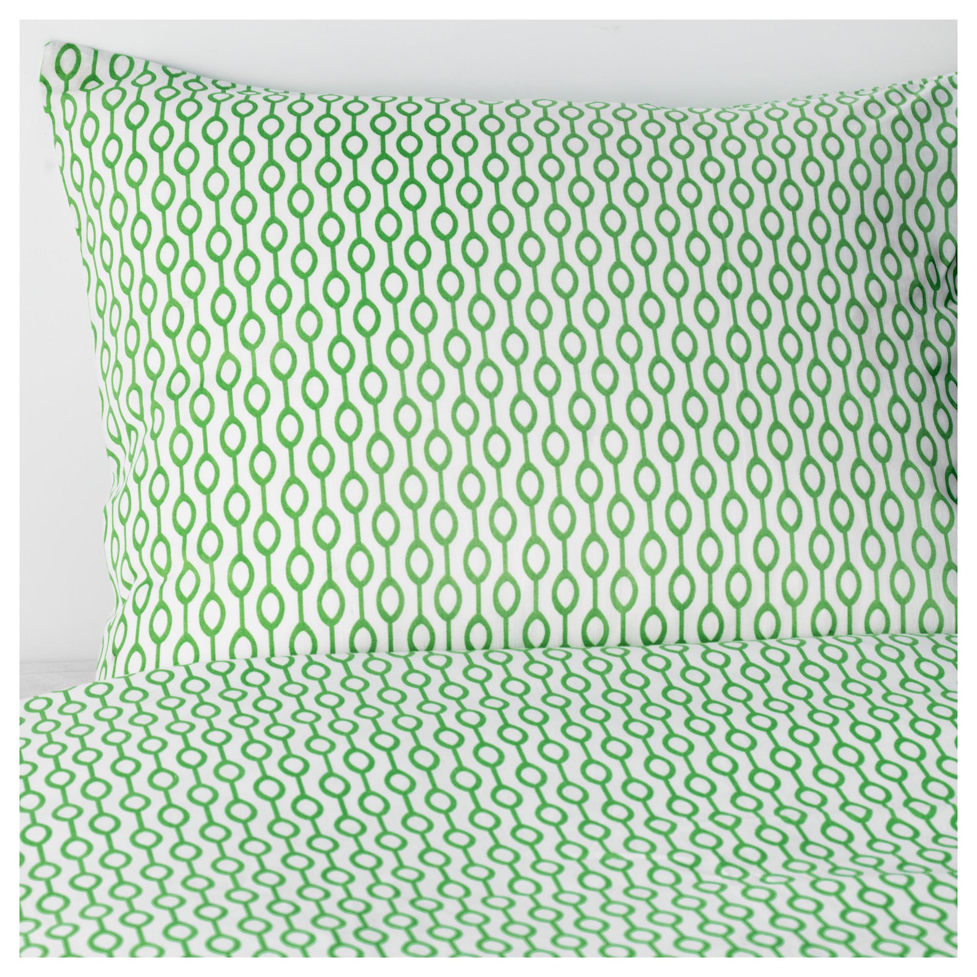 IKEA - RÖDVED, Pussilakana + 1 tyynyliina, 150x200/50x60 cm, , Polyesteri-puuvillasekoite on helppohoitoista, sillä se ei kutistu tai rypisty helposti.