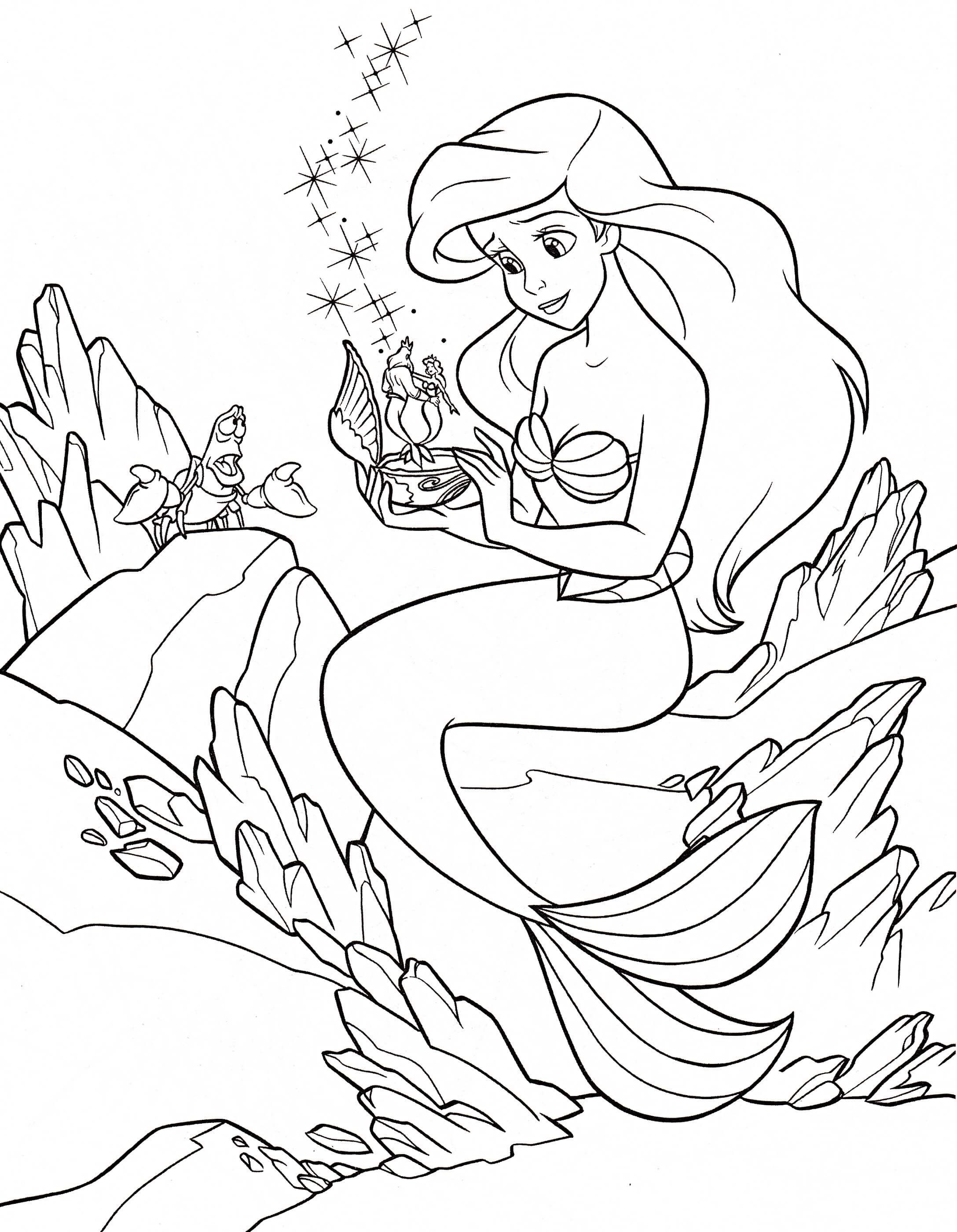 Princess Ariel Coloring Pages Disney Princess Drawing With Colour