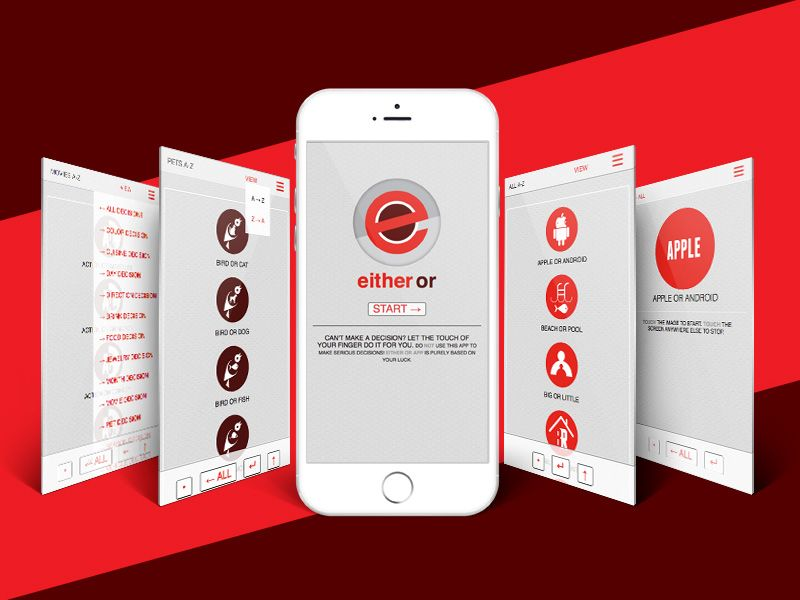 EitherOr App Screen Shots by Rade Stjepanovic