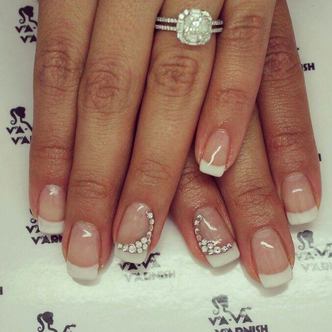 French Bridal Wedding Day Nails Bridal Nails Designs Wedding Nail Art Design Nail Art Wedding