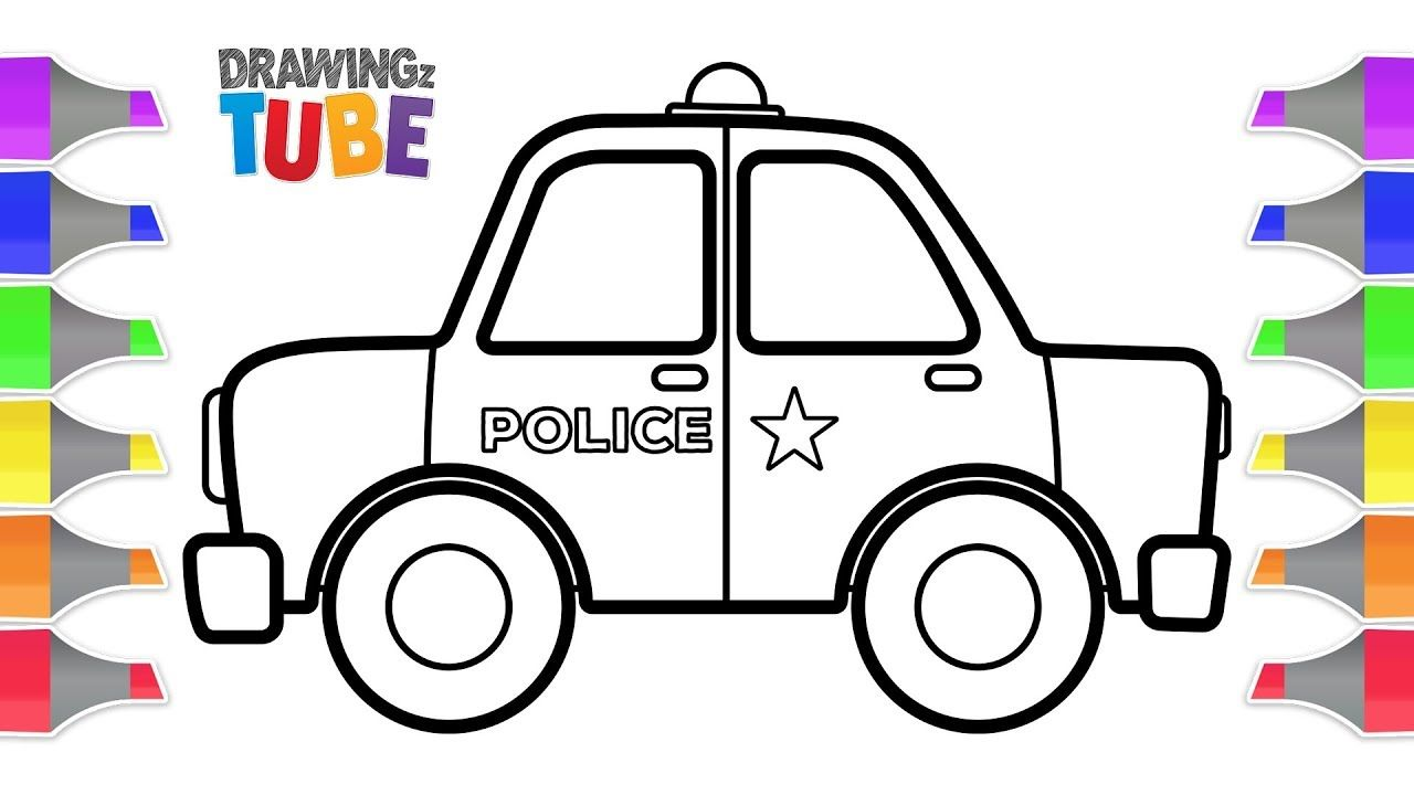 How To Draw A Police Car For Kids Coloring Page For Kids Educational Kids Police Car Drawing Videos For Kids Coloring For Kids