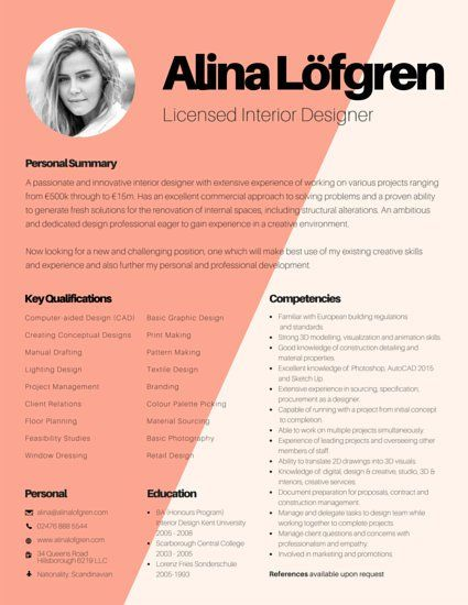 Gorgeous resume template, ready to be make yours! Just click - interior design resume