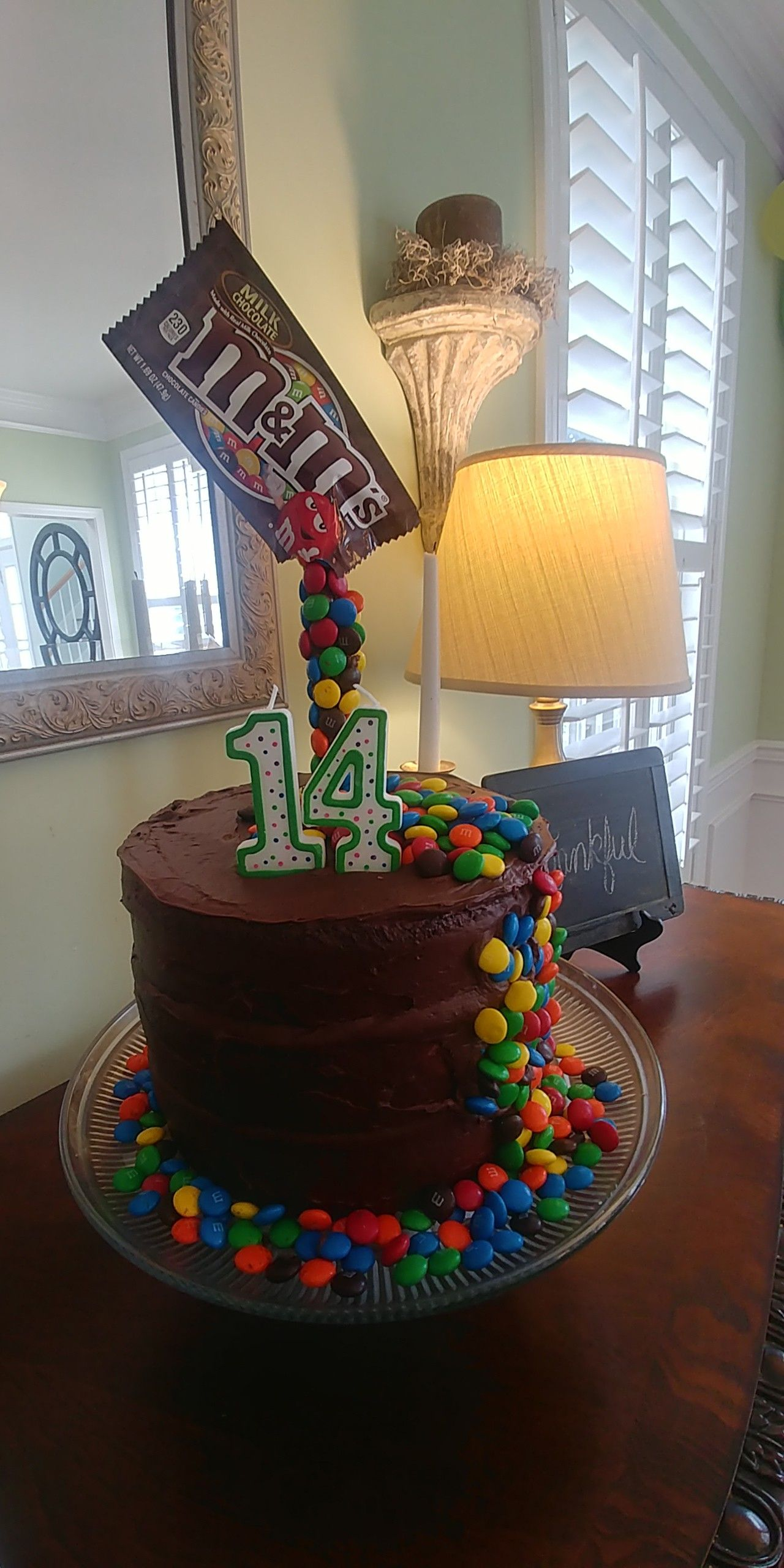 Peachy Bens 14Th Birthday Cake Mnms Candy Teenboybirthday 14Th Personalised Birthday Cards Veneteletsinfo