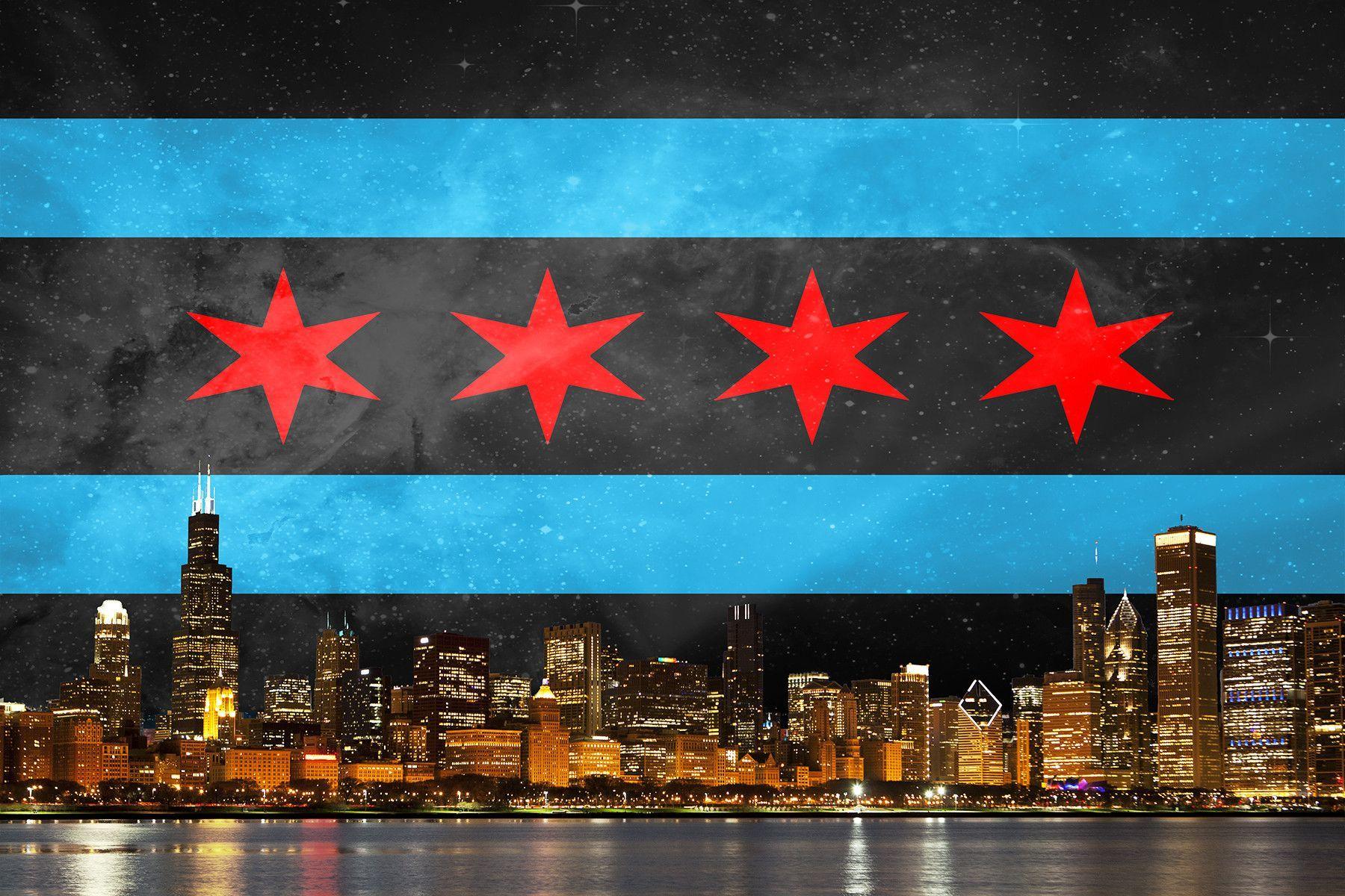 Black Chicago Flag Skyline Wallpaper Backgrounds